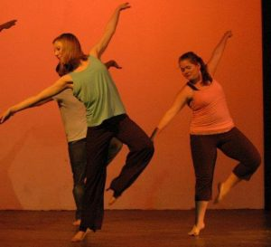 Dance Concert at Anderson University: Right dancer in peach top