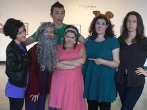 Cast photo is from Rip Van Wrinkles at Billy's Globe House: Center, pink dress